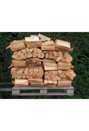 15 zakken gedroogd berkenhout á 8 kg