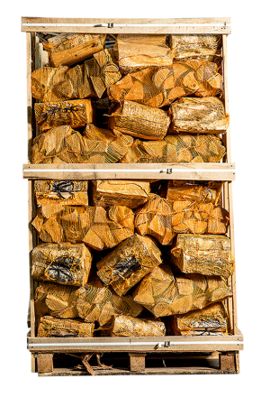 Pallet ovengedroogd berkenhout in netten