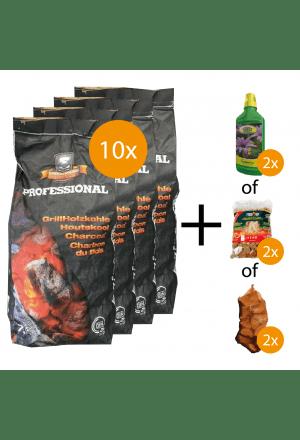 10 x 7,5kg Houtskool + gratis keuzeproducten