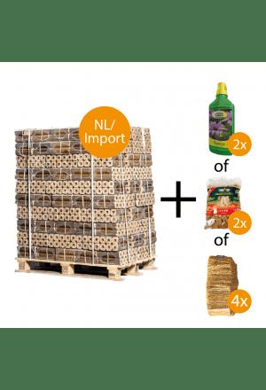 96 zakken Pini Kay briketten + gratis keuzeproducten