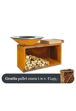 OFYR Cortenstaal Eiland Plus Rubberhouten Plank 100-100-TW