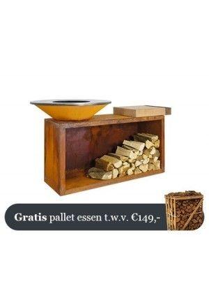 OFYR Cortenstaal Eiland Plus Rubberhouten Plank 85-100-RW