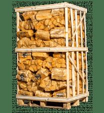 Pallet berkenhout in netzakken