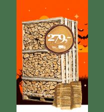 Pallet ovengedroogde berkenhout + 3 zakken aanmaakhout