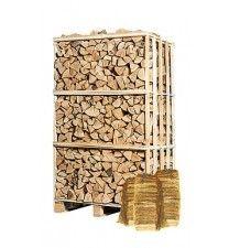 Pallet ovengedroogd essen + 5 zakken aanmaakhout