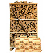 Pallet ovengedroogd eikenhout + 5 zakken aanmaakhout