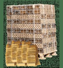 96 zakken Pini Kay briketten + 4x aanmaakhout OF 2x 192 aanmaakblokjes