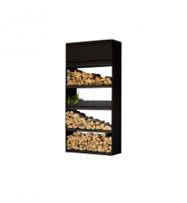 Wood Storage Cabinet Black with 2 Wood Storage Inserts