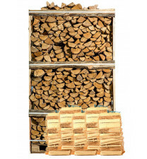 Pallet ovengedroogd berkenhout + 5 zakken aanmaakhout